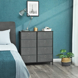 Related songmics 4 tier wide drawer dresser storage unit with 8 easy pull fabric drawers and metal frame wooden tabletop for closets nursery dorm room hallway 31 5 x 11 8 x 32 1 inches gray ults24g