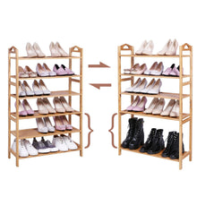 Load image into Gallery viewer, Try songmics bamboo wood shoe rack 6 tier 18 24 pairs entryway standing shoe shelf storage organizer for kitchen living room closet ulbs26n