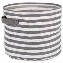 Load image into Gallery viewer, Storage dii fabric round room nurseries closets everyday storage needs asst set of 3 gray stripe laundry bin assorted sizes