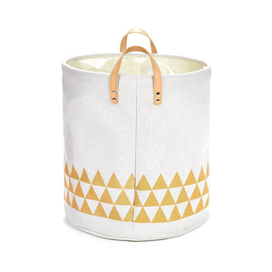 Shop for yascent collapsible polyester storage basket or bin with leather handles home organizer solution for office bedroom closet toys laundry round cream white with golden triangle