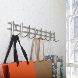 Get webi wall mounted coat rack hooks heavy duty sus 304 wall hooks rack robe hooks metal decorative hook rail for bathroom kitchen office entryway hallway closet 8 hooks brushed finish 2 packs