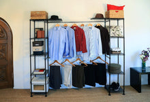 Load image into Gallery viewer, Top rated seville classics double rod expandable clothes rack closet organizer system 58 to 83 w x 14 d x 72 satin bronze