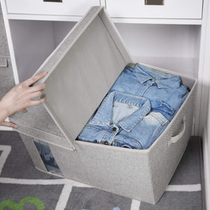 Get storageworks closet storage organizer with transparent clear window storage boxes with lid double open lid gray cotton fabric box jumbo