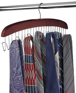 Select nice floridabrands scarf and tie hanger closet organizer and 12 hook wooden tie rack hanger for space saving solution and perfect space saving closet makeover mahogany color