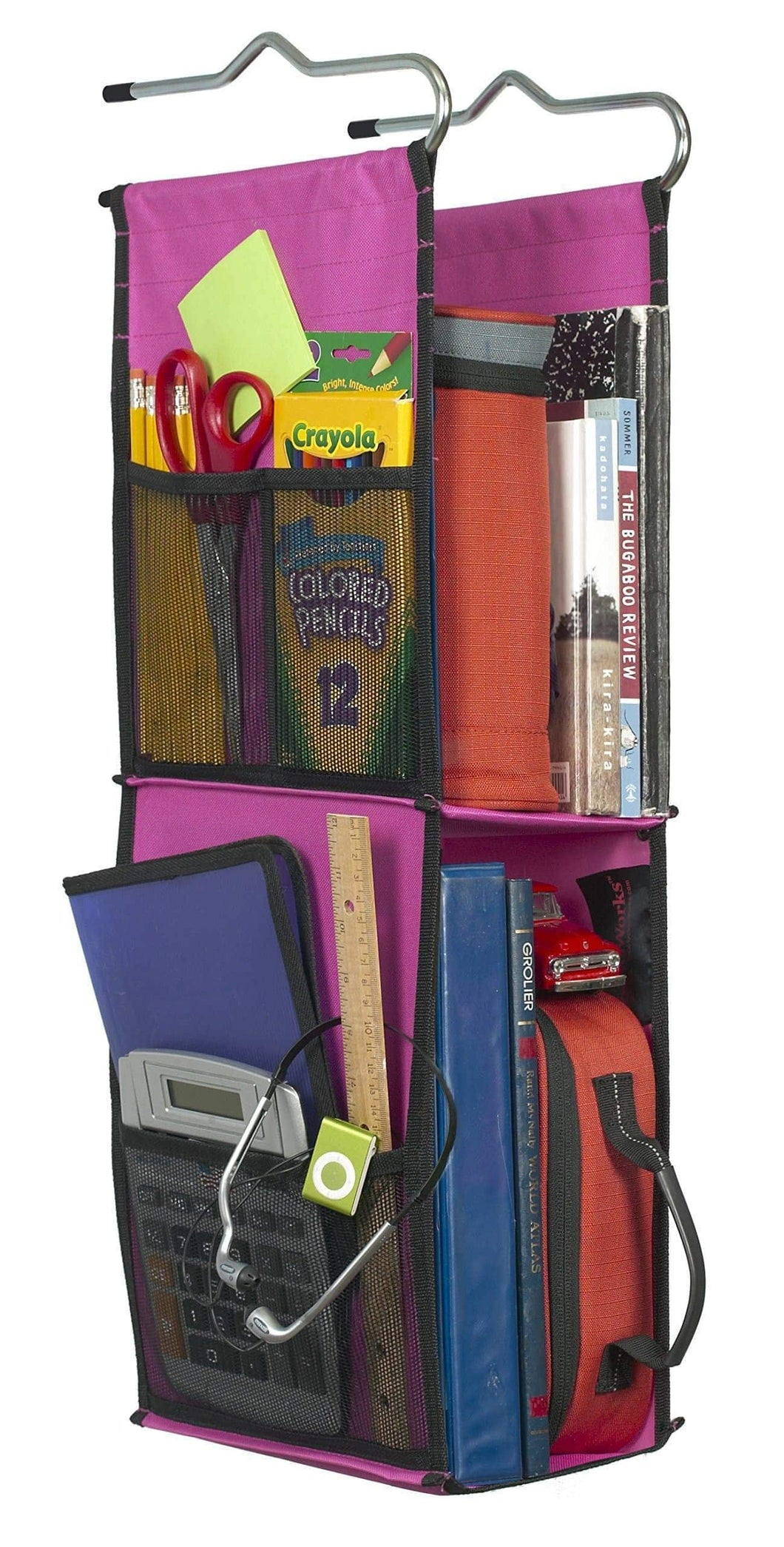 Products lockerworks 2 shelf hanging locker organizer 22 24 inches tall side pockets suspends from hooks shelf or closet rod fuchsia black