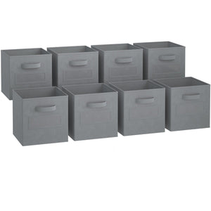 Heavy duty royexe storage cubes set of 8 storage baskets features dual handles 10 label window cards cube storage bins foldable fabric closet shelf organizer drawer organizers and storage grey