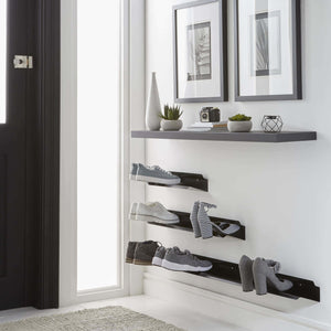Related j me horizontal shoe rack wall mounted shoe organizer keeps heels boots sneakers and sandals off the floor a great shoe storage solution for your entryway or closet black 48 inches