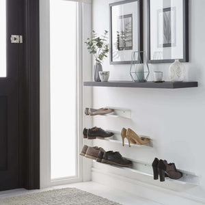 Shop for j me horizontal shoe rack wall mounted shoe organizer keeps heels boots sneakers and sandals off the floor a great shoe storage solution for your entryway or closet white 48 inches