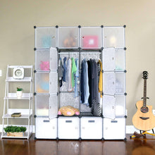 Load image into Gallery viewer, Budget unicoo multi use diy 20 cube organizer wardrobe bookcase storage cabinet wardrobe closet with design pattern deeper cube semitransparent