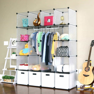Budget friendly unicoo multi use diy 20 cube organizer wardrobe bookcase storage cabinet wardrobe closet with design pattern deeper cube semitransparent