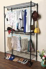 Load image into Gallery viewer, Explore homdox double rod closet 3 shelves wire shelving clothing rolling rack heavy duty garment rack with wheels and side hooks