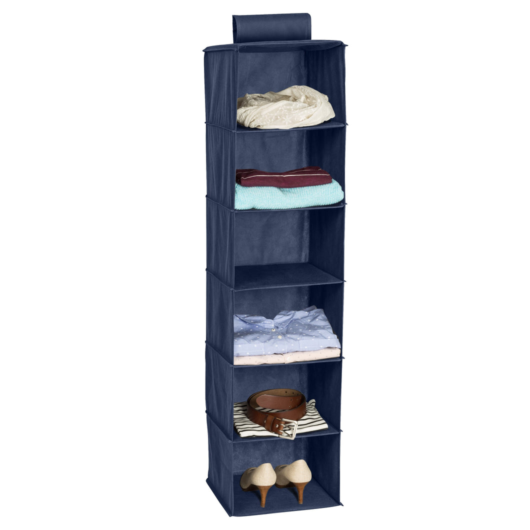 6-Shelf Hanging Closet Organizer, Navy