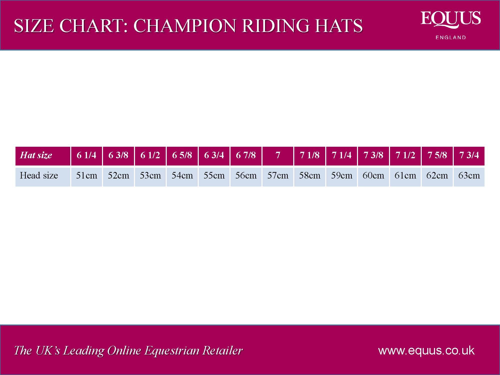 Champion Riding Hats Size Chart
