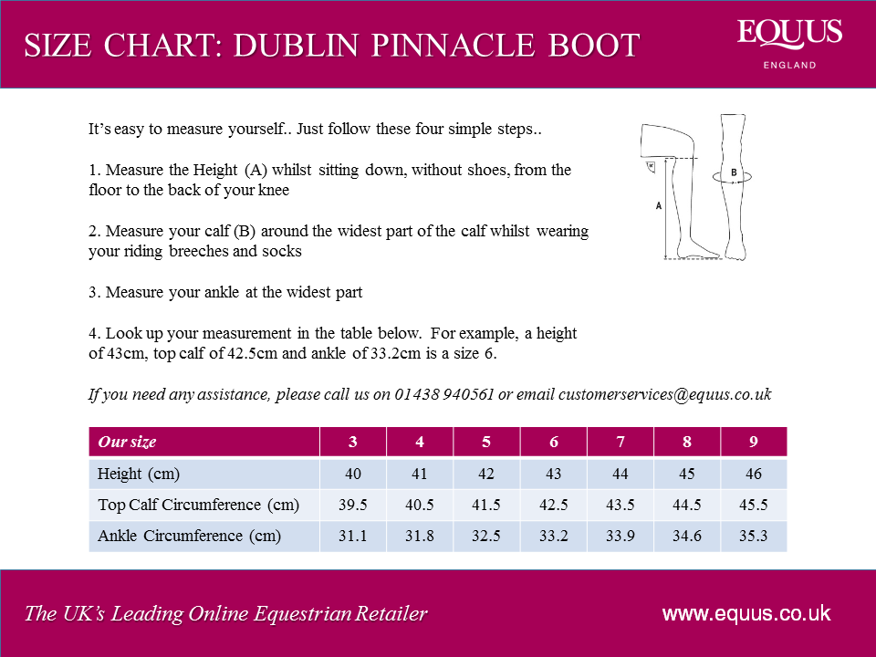 Dublin Pinnacle Boots Size Chart