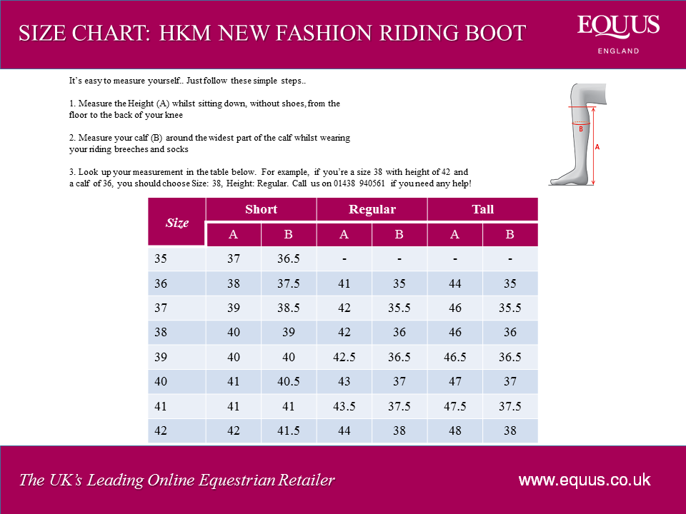 HKM New Fashion Riding Boot Size Chart