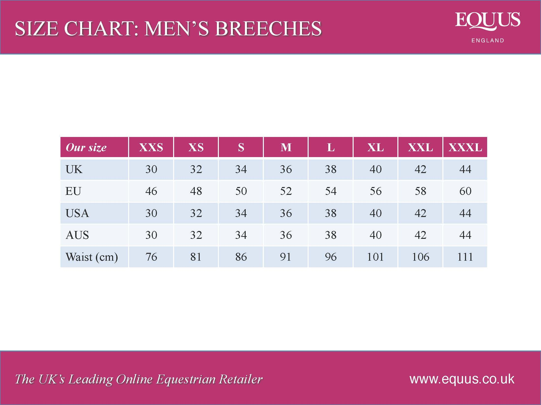 men's riding breeches size chart