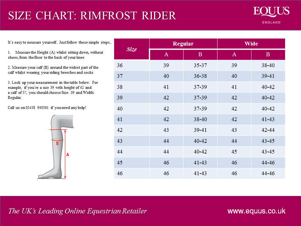 Mountain Horse Rimfrost Rider Size Chart