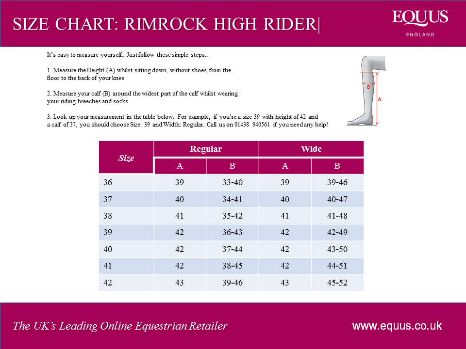 Mountain Horse Rimrock High Rider Size Chart