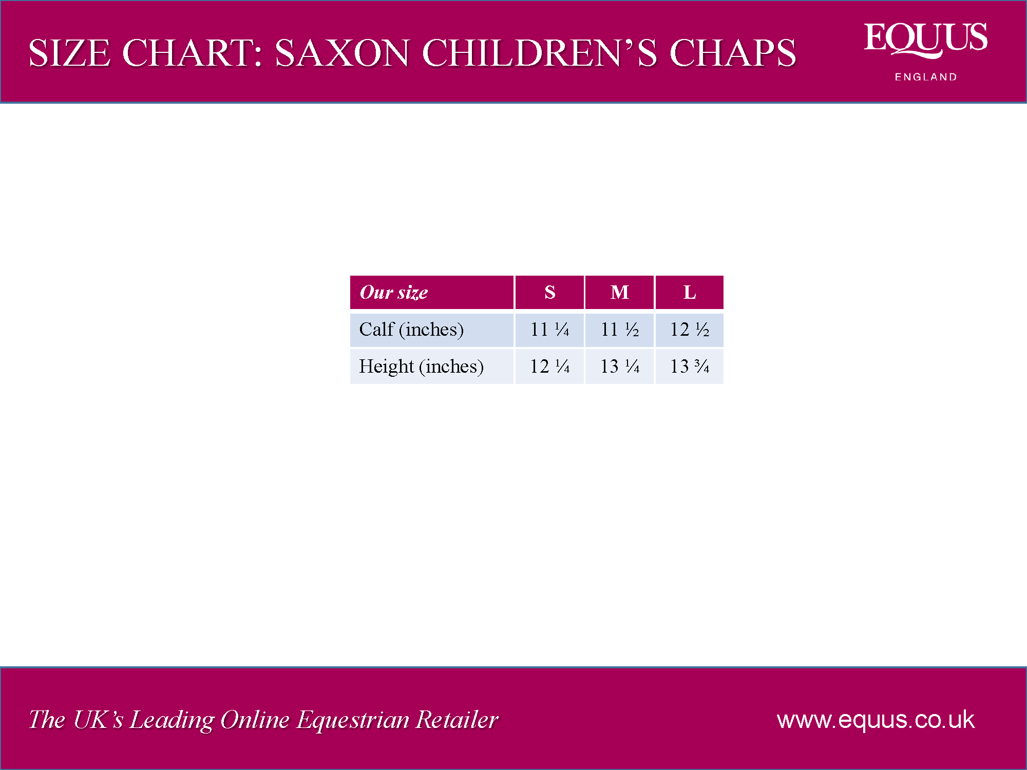Saxon Equileather Children's Half Chap Size Chart