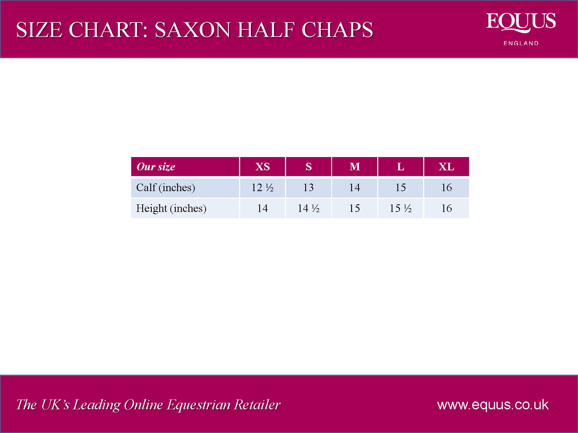 Saxon Equileather Half Chap Size Chart