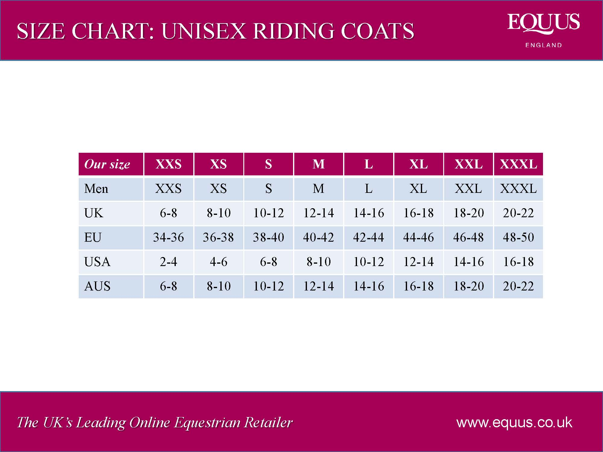 Unisex Riding Coats Size Chart