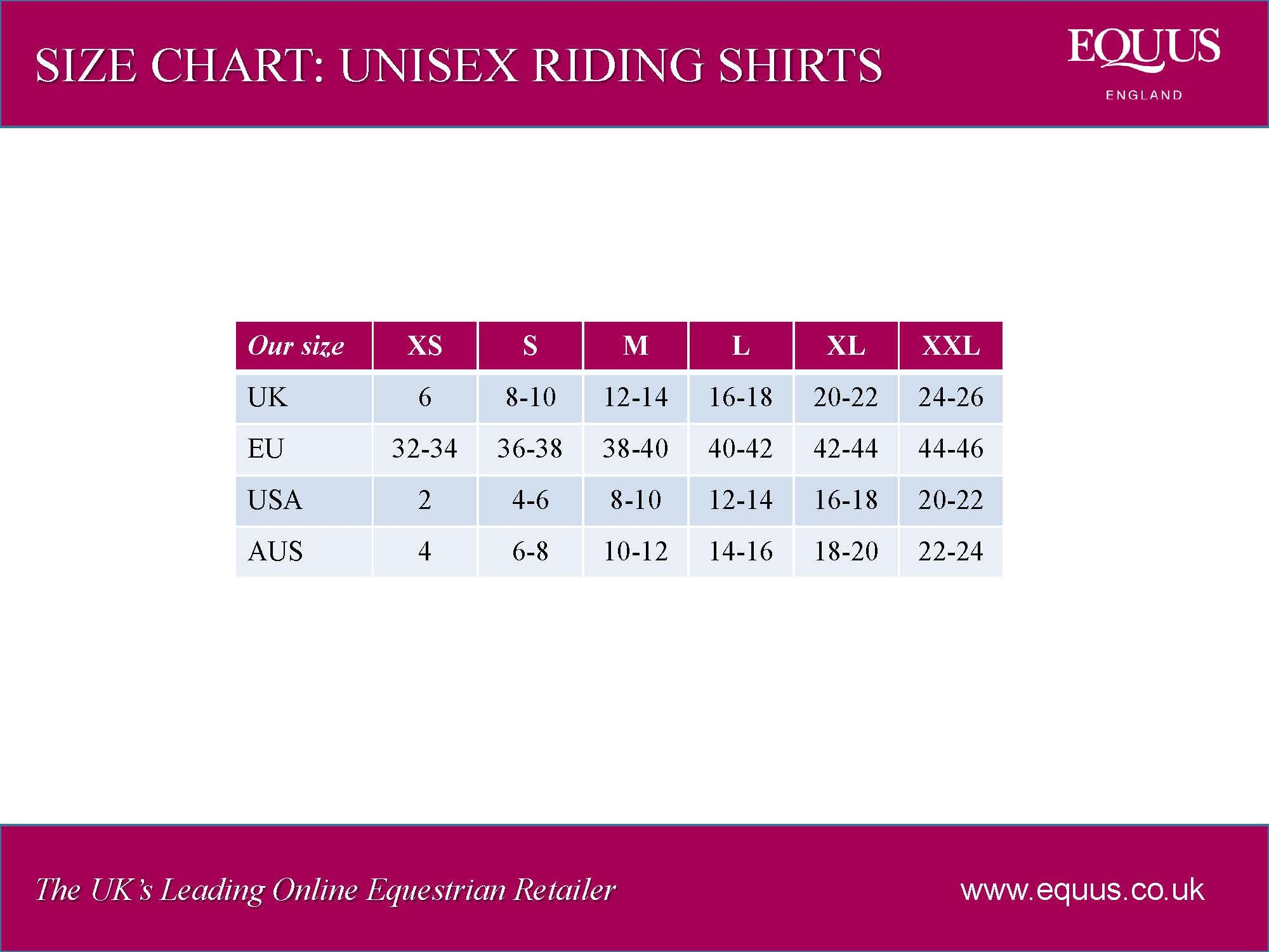 Equetech stag micro fleece stock shirt for Uk shirt size chart