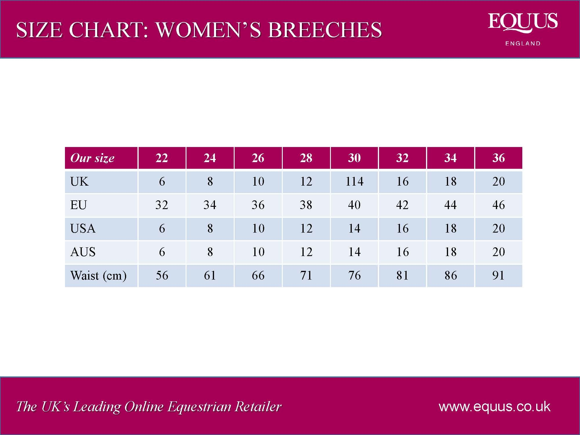 women's riding breeches size chart
