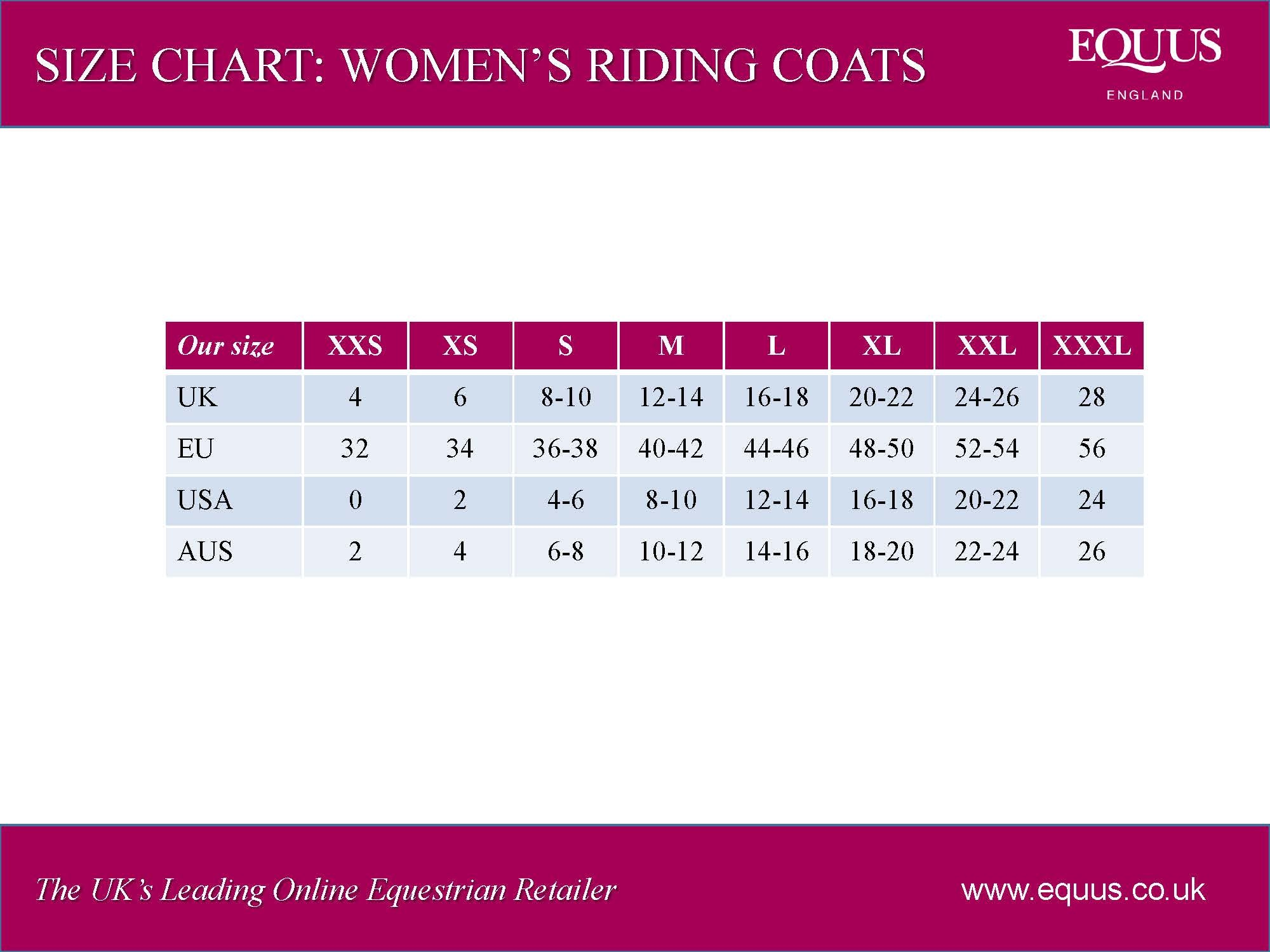 Women's Riding Coats Size Chart