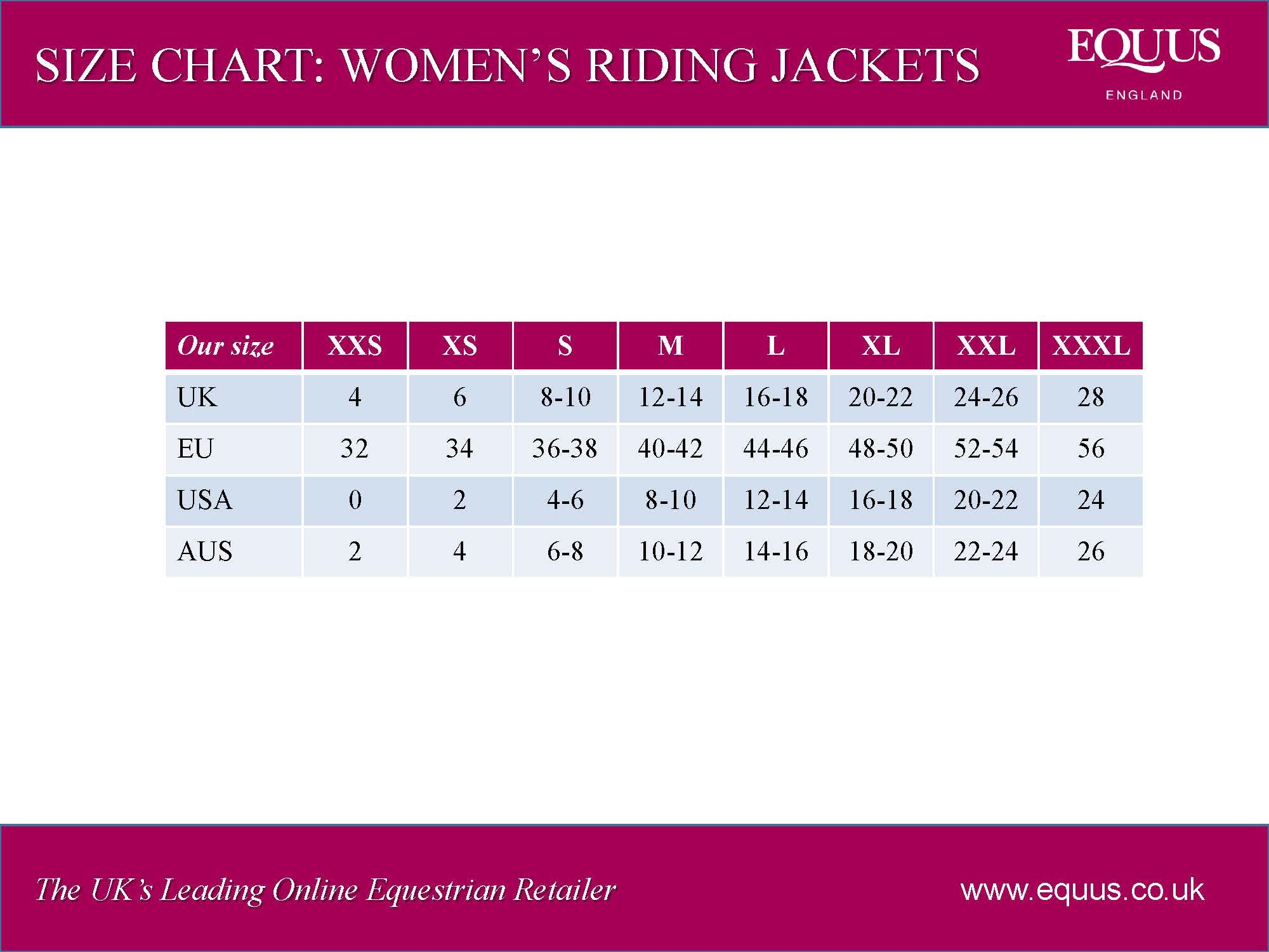 women's riding jackets size chart