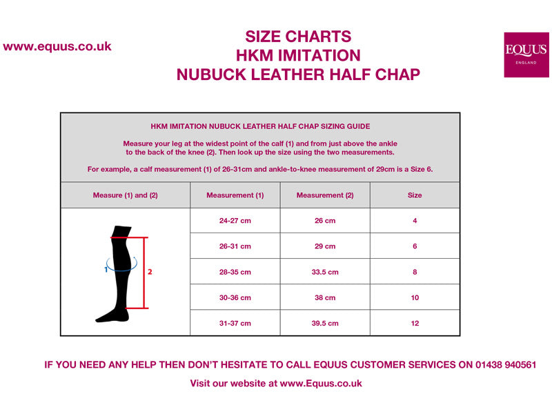 HKM Children's Imitation Nubuck Leather Half Chap Size Guide