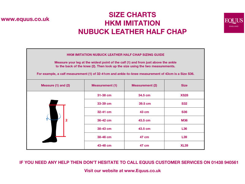 HKM Imitation Nubuck Leather Half Chap Size Guide
