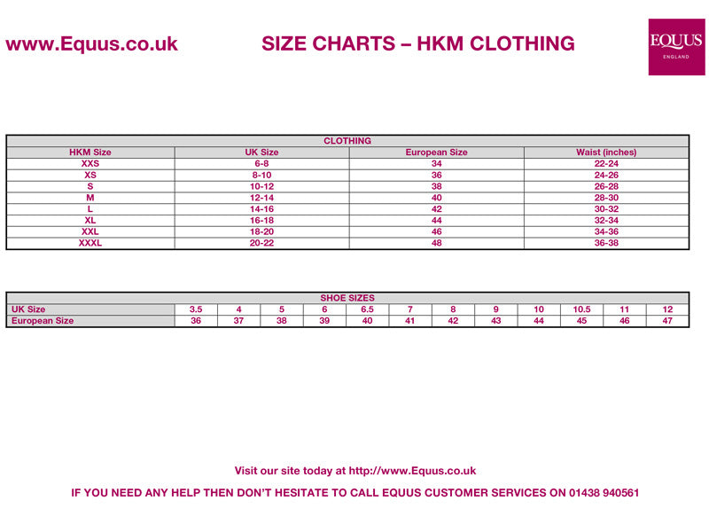 HKM Clothing Size Guide