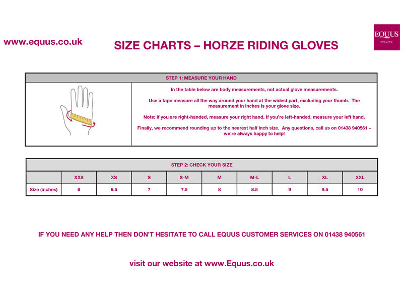 Horze Riding Gloves Size Guide