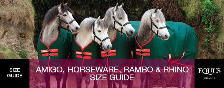 Amigo, Horseware, Rambo and Rhino Size Guide