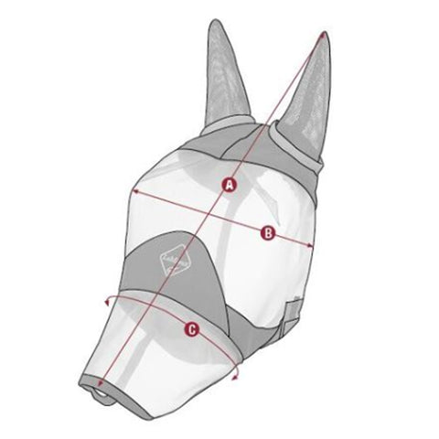 LeMieux Armour Shield Pro Fly Mask With Ears and Nose Size Guide Image