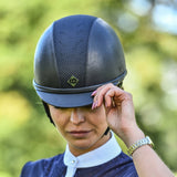Charles Owen Ayr8 Plus Leather Look Riding Hat in Navy