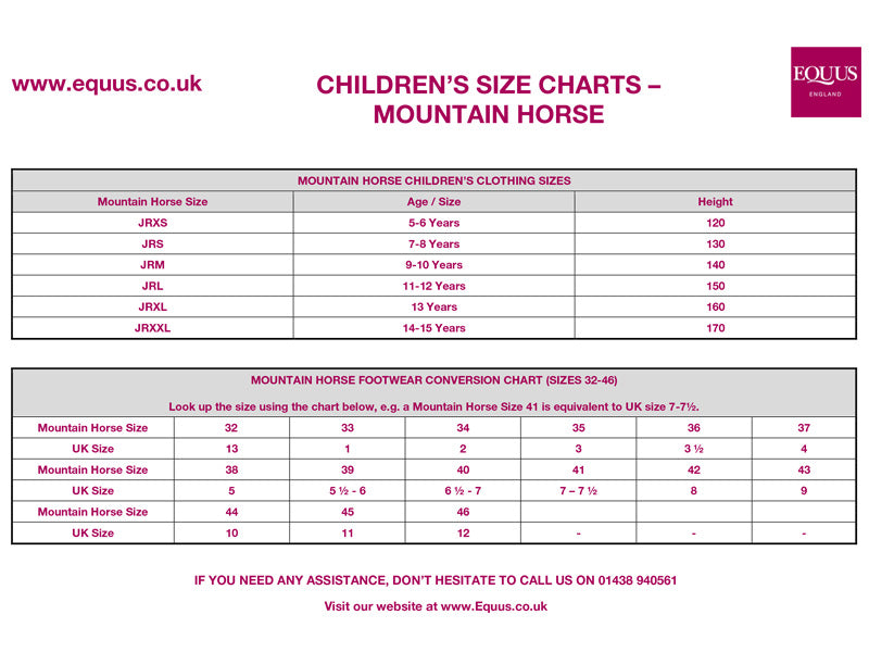 Mountain Horse Children's Clothing Size Guide