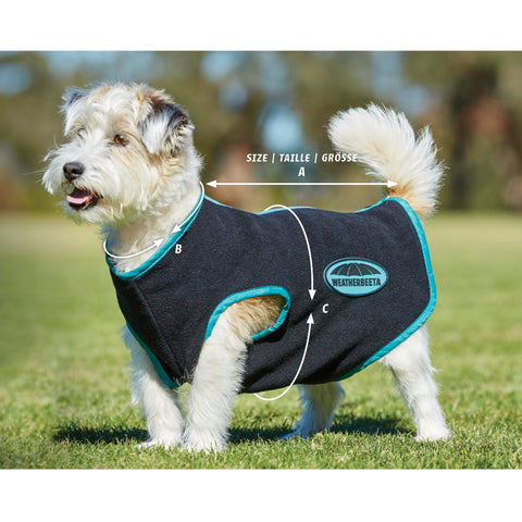 Weatherbeeta Cozi-Dri Dog Coat and Fleece Zip Dog Coat Size Guide Image