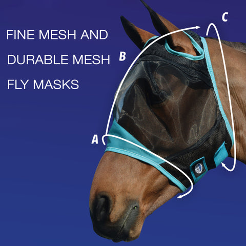 Weatherbeeta Durable Mesh and Fly Mesh Fly Mask Size Guide Image