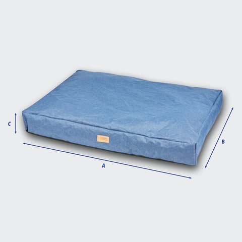 Weatherbeeta Denim Pillow Dog Bed Size Guide Image