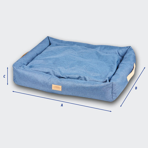 Weatherbeeta Square Denim Dog Bed Size Guide Image