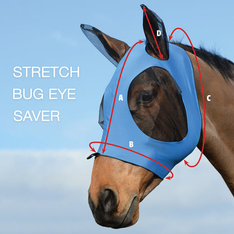 Weatherbeeta Stretch Bug Eye Saver Fly Mask Size Guide Image