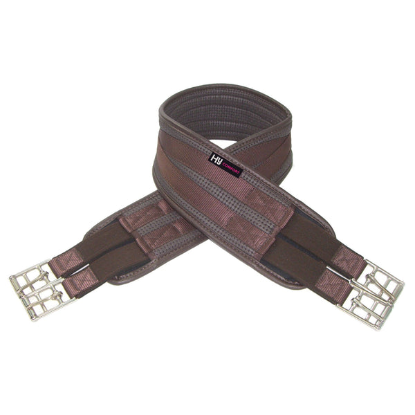 HyCOMFORT Elasticated Waffle Girth Brown Close up 0719