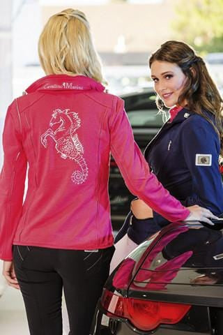HKM Cavallino Marino Verona Ladies Jersey Jacket in Pink worn by Model