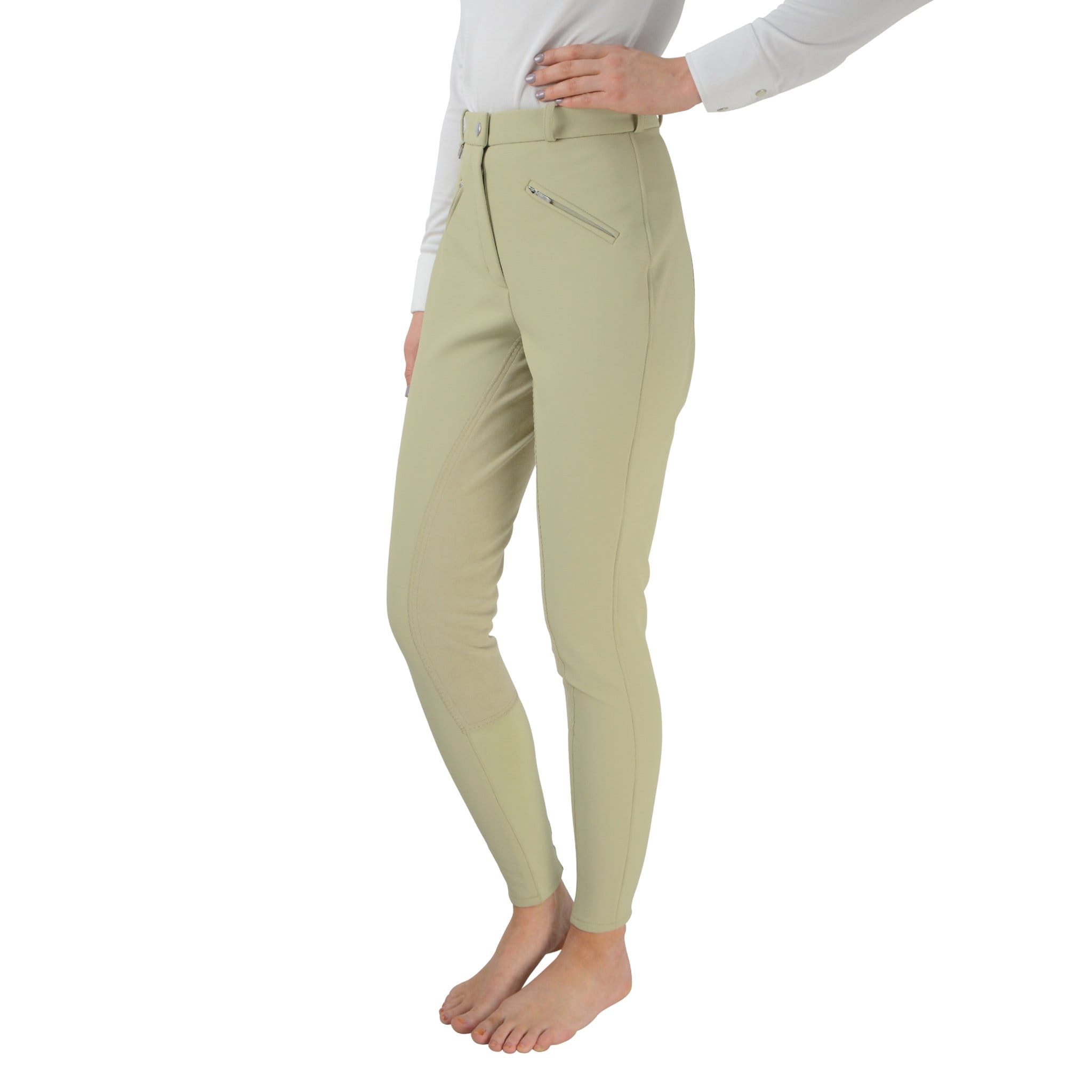 HyPerformance Winter Softshell Alos Full Seat Breeches Beige Front On Model 4570