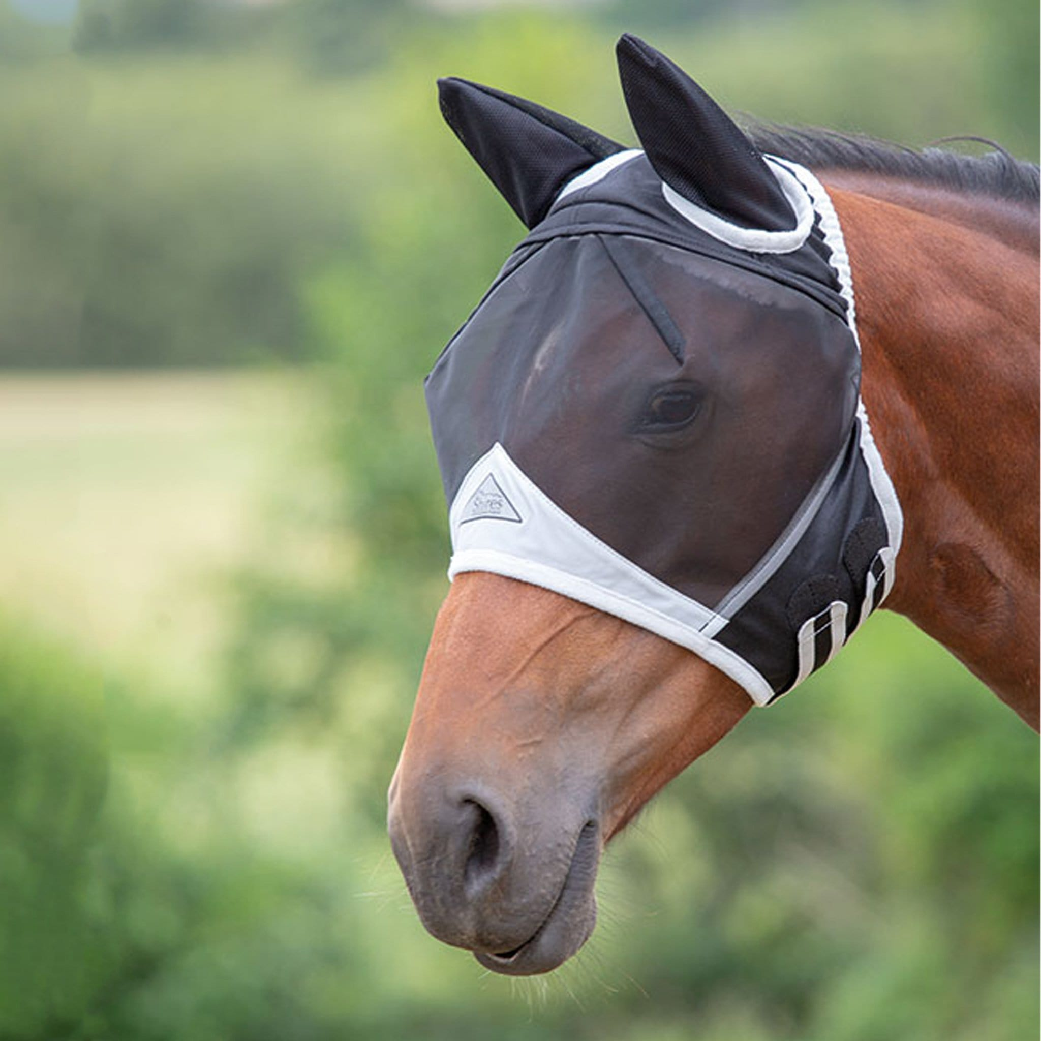 Shires Fine Mesh Fly Mask with Ears Black 6662