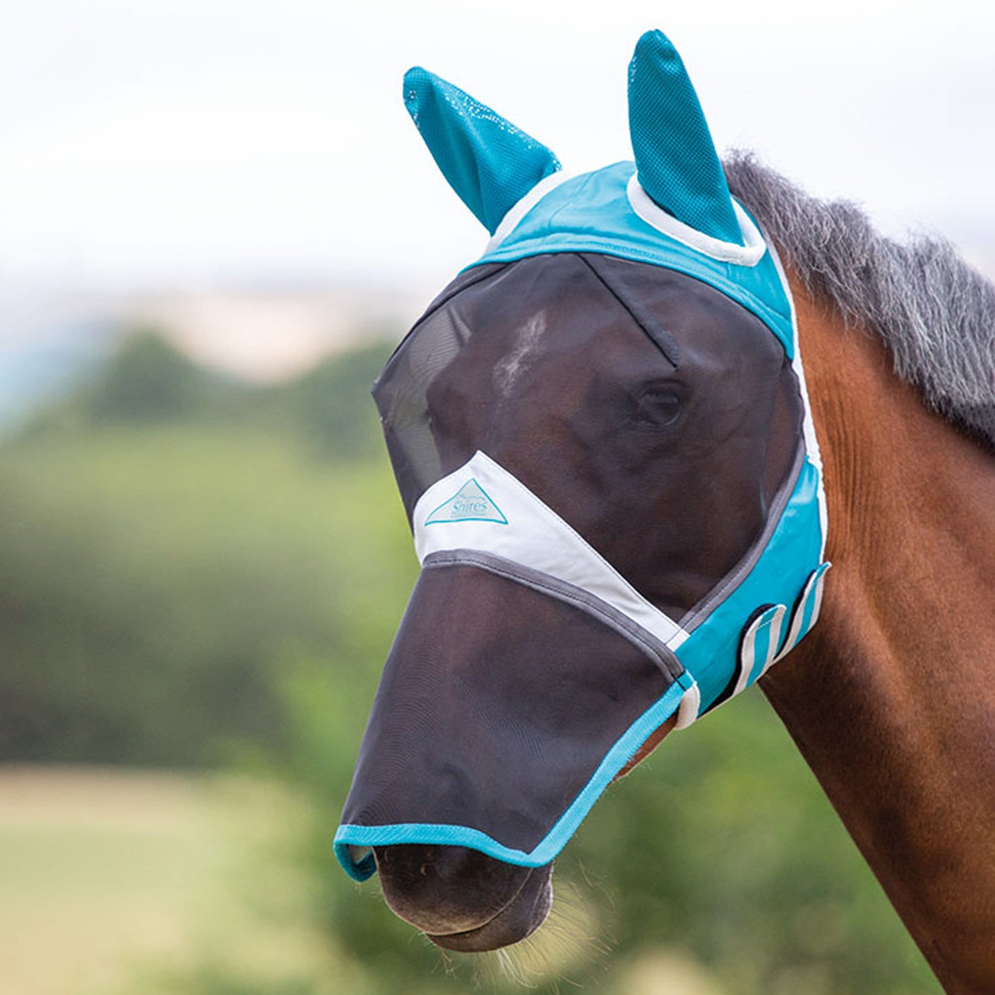 Shires Fine Mesh Fly Mask with Ears and Nose 6665 teal