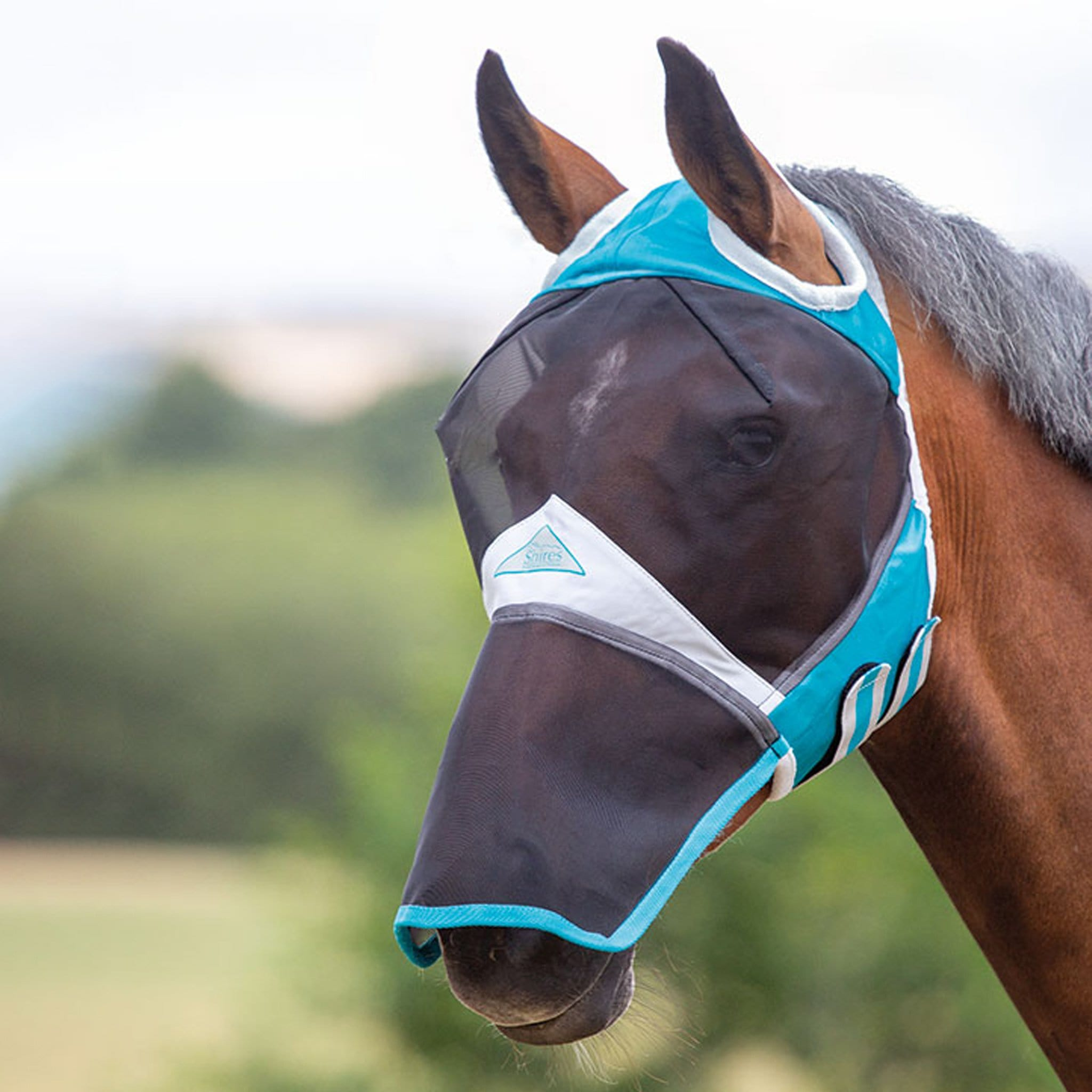 Shires Fine Mesh Fly Mask with Ear Holes and Nose Teal 6666