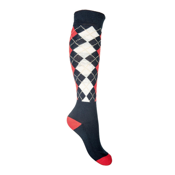 HKM Windsor Riding Sock in Deep Blue with Red