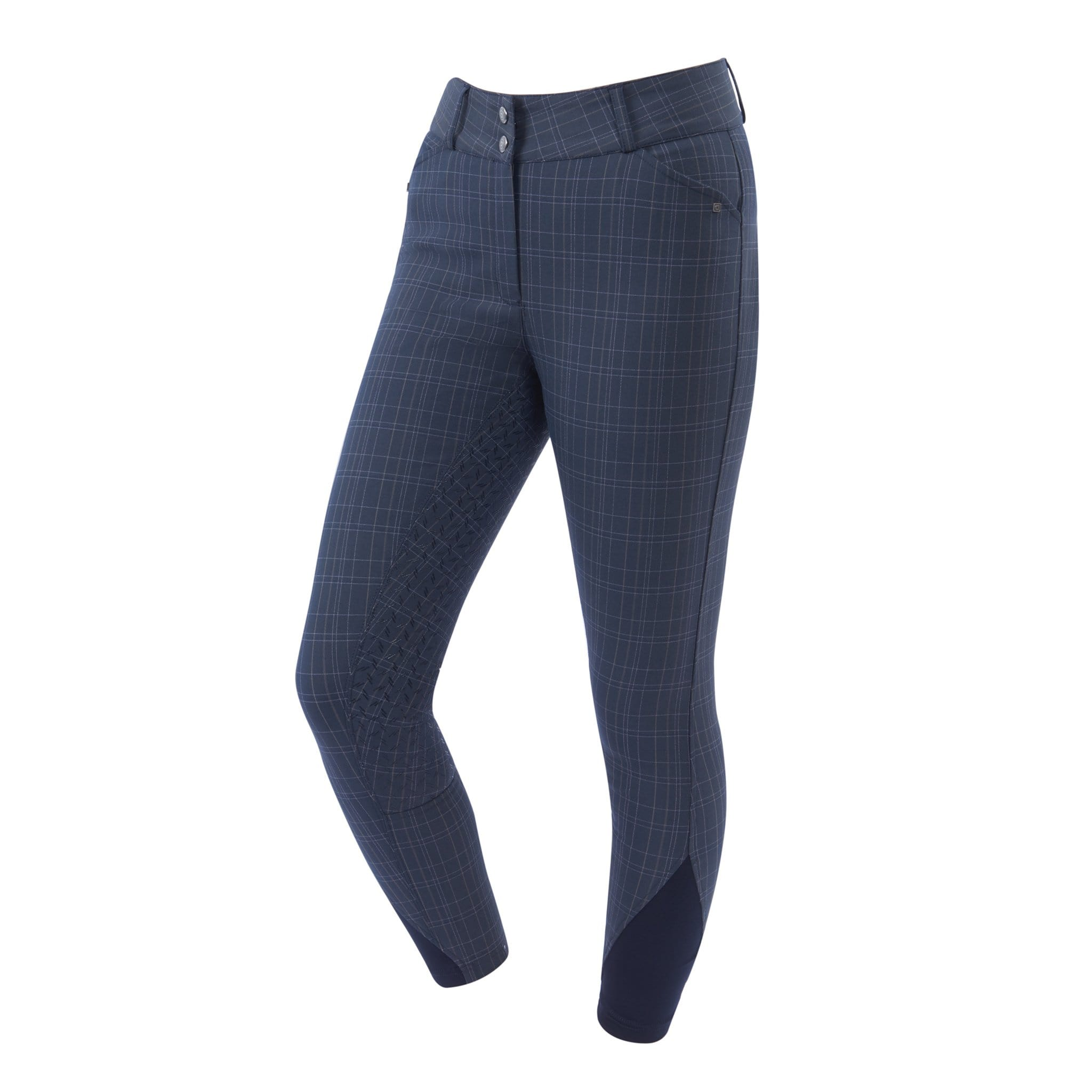 Dublin Pro Form Gel Silicone Full Seat Breeches Navy Plaid Front